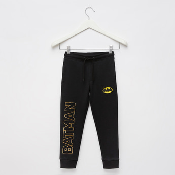 Batman Text Foil Print Jog Pants with Pockets and Drawstring Closure