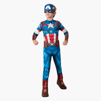 Captain America Themed Long Sleeves Jumpsuit with Mask