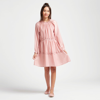Textured Dress with Ruffle Detail and Long Sleeves