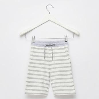 Striped Knit Shorts with Pocket Detail and Drawstring Closure