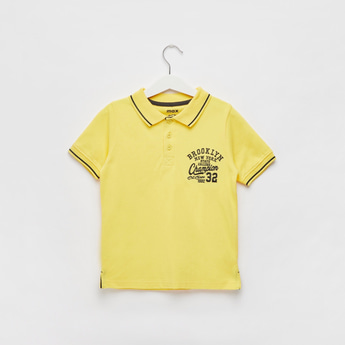 Embroidered Polo T-shirt with Short Sleeves and Tipping