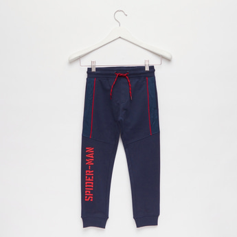 Spider-Man Text Print Jog Pants with Pockets and Drawstring Closure