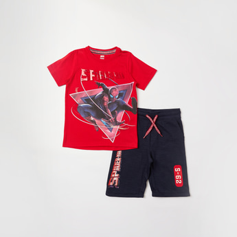 Spider-Man Print Round Neck T-shirt and Shorts Set
