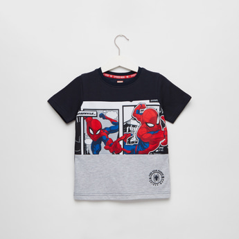Spider-Man Print Round Neck T-shirt with Shorts Sleeves