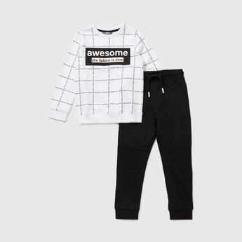Printed Long Sleeves Sweatshirt with Full Length Jogger Set