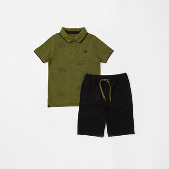 All-Over Print Polo T-shirt with Solid Shorts Set