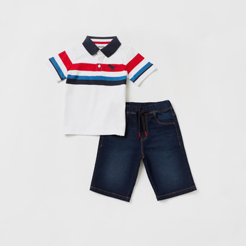 Striped Polo T-shirt with Denim Shorts Set