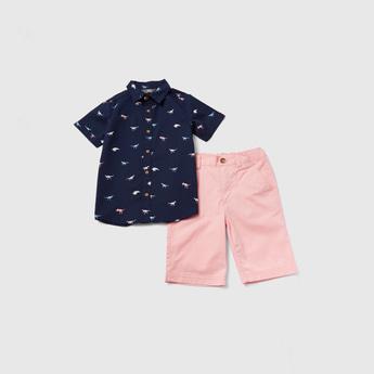 Dinosaur Print Collared Shirt and Knee Length Shorts Set