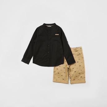 Solid Mandarin Collar Shirt with All-Over Print Shorts Set