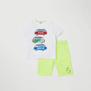 Embellished Round Neck T-shirt and Shorts Set
