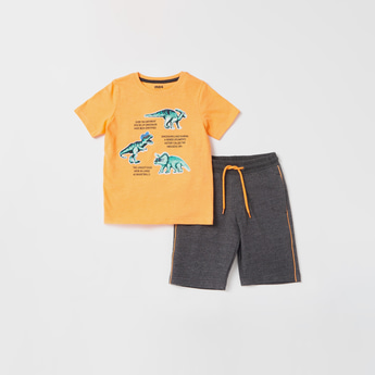 Dino Graphic Print Short Sleeves T-shirt with Solid Shorts Set