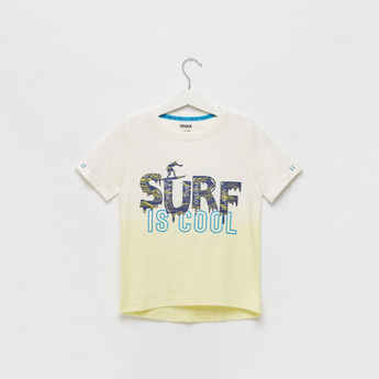 Slogan Print Ombre T-shirt with Round Neck and Short Sleeves