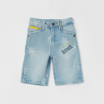 Embroidered Denim Shorts with Pockets and Belt Loops