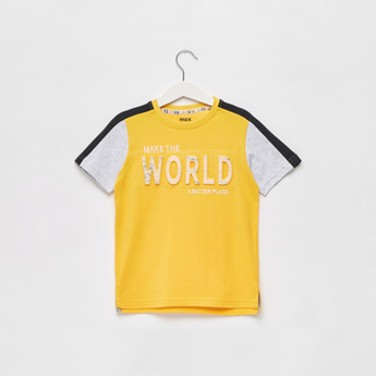 Text Embossed Slogan Print T-shirt with Round Neck and Short Sleeves