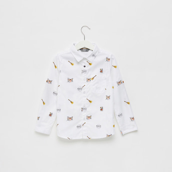 All Over Print Shirt with Long Sleeves and Patch Pocket
