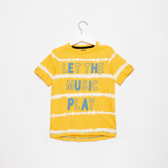 Embroidered Striped T-shirt with Round Neck and Short Sleeves