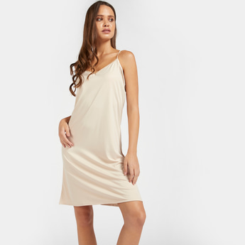 Solid Nude Slip with Scoop Neck and Adjustable Straps