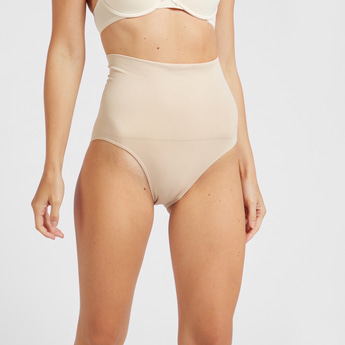 Solid High-Rise Shaping Briefs with Elasticised Waistband