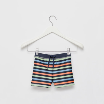 Striped Swimming Trunks with Drawstring Closure