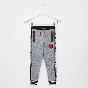 Spider-Man Tape Detailed Joggers with Drawstring Closure and Pockets