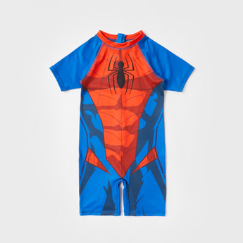 Spider-Man Print Swimsuit with Short Sleeves and Zip Closure