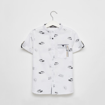 All-Over Print Shirt with Mandarin Collar and Short Sleeves