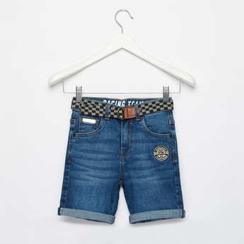 Slim Fit Solid Denim Shorts with Badge Detail and Belt