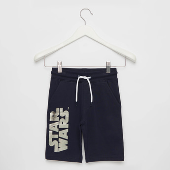 Star Wars Foil Print Shorts with Pockets and Drawstring