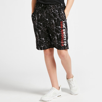 All-Over Marble Print Shorts with Pocket Detail and Drawstring Closure