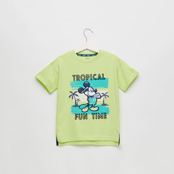 Mickey Mouse Print T-shirt with Short Sleeves and Round Neck
