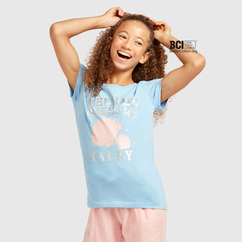 Printed Round Neck T-shirt with Short Sleeves