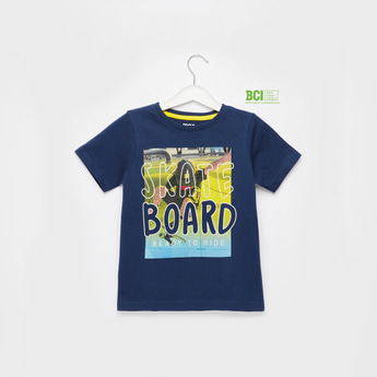 Skateboard Graphic Print T-shirt with Short Sleeves