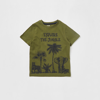 Jungle Graphic Print T-shirt with Round Neck and Short Sleeves
