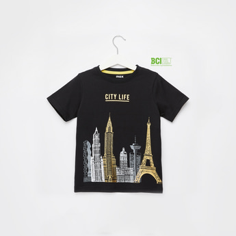 City Life Foil Print T-shirt with Round Neck and Short Sleeves