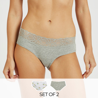 Pack of 2 - Assorted Boyleg Briefs with Lace Elasticised Waistband