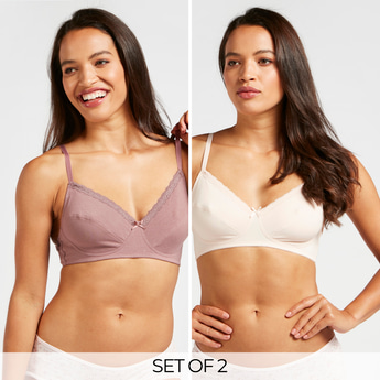 Set of 2 - Solid Non-Padded A-Frame Bra with Hook and Eye Closure