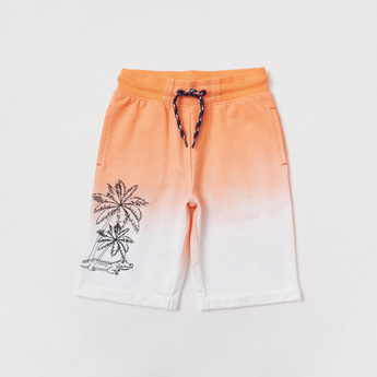 Graphic Print Ombre Shorts with Elasticated Waistband and Pockets
