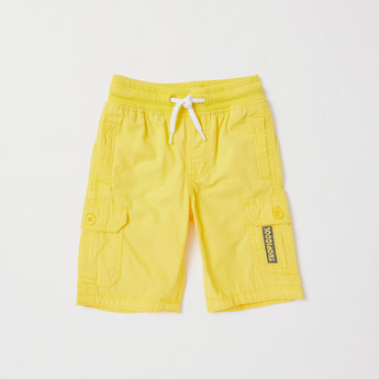 Solid Cargo Shorts with Pockets and Elasticated Waistband