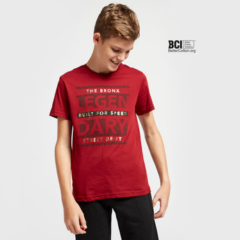Typographic Foil Print Round Neck T-shirt with Short Sleeves