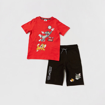 Tom and Jerry Print Round Neck T-shirt and Knee-Length Shorts Set