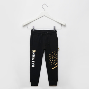 Batman Foil Print Jog Pants with Pockets and Drawstring