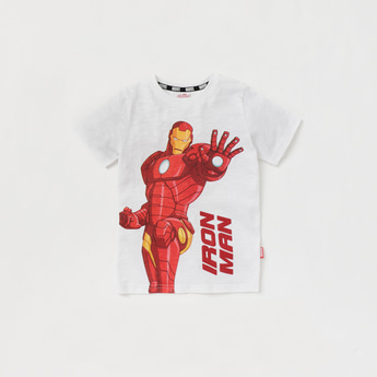 Iron Man Graphic Print T-shirt with Round Neck and Short Sleeves
