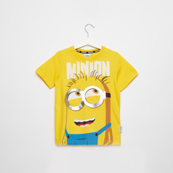 Despicable Me Graphic Print T-shirt with Round Neck and Short Sleeves