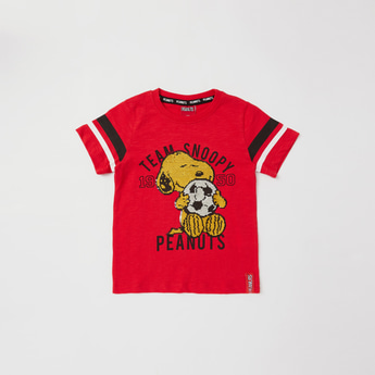 Snoopy Embellished Round Neck T-shirt with Short Sleeves
