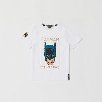 Batman Foil Print Embellished T-shirt with Round Neck