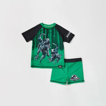 Jurassic Park Print Swim T-shirt and Shorts Set