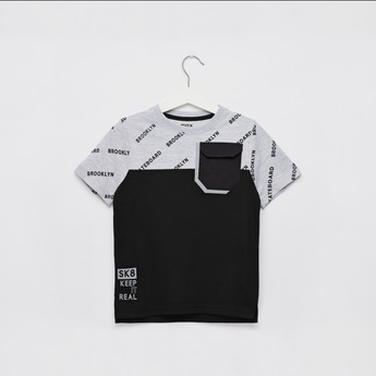 All-Over Print Cut and Sew T-shirt with Round Neck and Short Sleeves