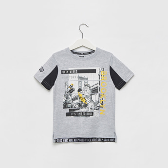 Graphic Print Round Neck T-shirt with Short Sleeves and Panel Detail