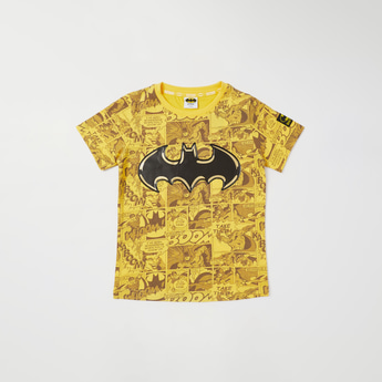All-Over Batman Printed Round Neck T-shirt with Short Sleeves