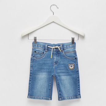 Embroidered Detail Denim Shorts with Pockets and Drawstring Closure